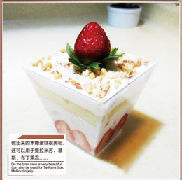 Wholesale Trapezoidal Box - Bakeware cake Tiramisu mousse cup trapezoidal transparent plastic sawdust cup 60pcs free shipping with lid and spoon