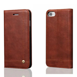 Wholesale Classic Crazy Horse - For Iphone7 Adsorption Retro Crazy Horse Vintage Classic Leather Flip Cover Case for Iphone 7 Plus Holster Stand Flip Card Slot Phone Bags