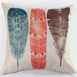 Wholesale Feather Pillows - Cotton Linen Cushion Covers Home Decorate Printing Pillowslip Colourful Peacock Feather Pillow Case For Many Styles 8ht C R