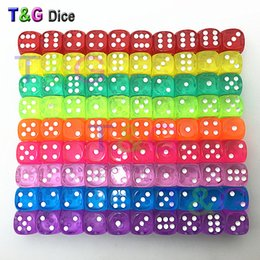 Wholesale Dices Sets - Wholesale- Colorful 14mm 10pcs set Acrylic Transaprent d6 Dice,6 sided gambling red blue green yellow purple Dice for Drinking Board Game