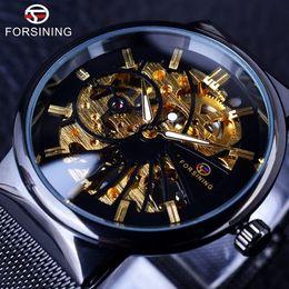 Wholesale Gold Thin Mens Watch - Forsining 2018 Fashion Luxury Super Thin Case Neutral Design Waterproof Mens Watches Top Brand Luxury Mechanical Skeleton Watch