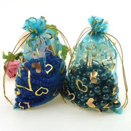 Wholesale Plastic Bag Yarn - Free Shipping 100pcs lot 11x16cm Lake Blue Heart Organza Christmas Wedding Favor Gift Packaging Bags Yarn Jewelry Pouches