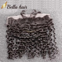 Wholesale Free Hair Products - Lace Frontal Closure 4*13 Ear to Ear Lace Frontal Brazilian Curly Human Hair Extensions Lace Closure Free Shipping Bella Hair Products