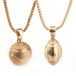 Wholesale Twisted Sports Necklace - Charm Necklaces Bucks chain gold Basketball Rugby Alloy Plated Pendant Necklace Sports Pendant Hip Hop Jewelry with Dedicated opp package