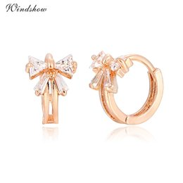 Wholesale Kids Butterfly Earrings - Yellow Gold Plated Butterfly Bowknot Clear Zircon CZ Hoop Earrings Anti-Allergic Jewelry for Children Girls Baby Kids Gifts