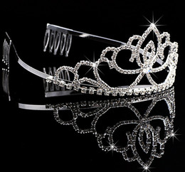 Wholesale Cheap Crystal Headbands For Weddings - Most Unique Alloy Wedding Shining Crowns Headbands Rhinestones Fashion Cheap Crowns For Bride Prom Evening New 1PC
