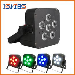 Wholesale Battery Par - DHL 6x8w LED Par Light Wireless 4in1 Battery led flat Wireless & DMX LED Stage Battery Powered flat par lights Club Lighting 1010
