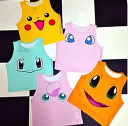 Wholesale Colorful Shirt Women - Poke Pattern Vest NEW 10 design woman kids Camis Pikachu Jeni turtle Charmander Squirtle Print tank tops Colorful sleeveless T-shirts B001