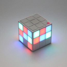 Wholesale Tablet Pc Stand Speaker - Magic Cube Design Colorful 36 LED Flash Bluetooth Mini Speaker Wireless Portable Super Bass Sound Subwoofer Handsfree for iPhone Tablet PC