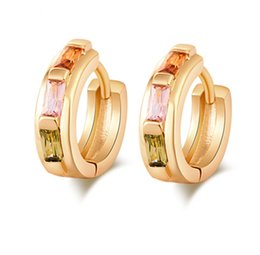 Wholesale Colorfull Jewelry - New Arrival Fasnion gold plated Cubix Zirconia Colorfull CrystaL Little Ear Hoops for Kids Fashion Jewelry for Teen Girls ER-155