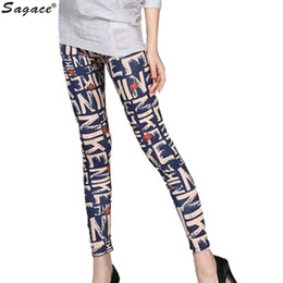 Wholesale Silk Trousers Women - Wholesale-Sagace High Elastic Silk Milk Thin Sport Women Autumn Pants Skinny Trousers Fashion Letters Printed Stretch Nine Leggings Aug11