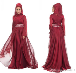 Wholesale Muslim Long Sleeve Maxi Dress - Burgundy Chiffon Formal Long Maxi Lace Appliques Evening Dresses With Hijab Long Sleeve 2017 Beaded Pleated Layered Ruffle Arabic Muslim Dre