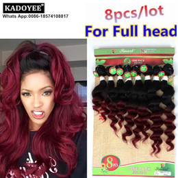 Wholesale Virgin Ombre Hair For Weave - Kadoyee 100% Brazilian Human virgin remy hair weave 8pcs lot for full head ombre color deep loose wave hair extension healthy thick end