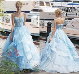 Wholesale Cheap Gold Quinceanera Dresses - 2017 New Light Sky Blue Princess Quinceanera Dresses Cheap Sweet 16 Sweetheart Lace Skirt Button Back Prom Gowns with Cascading Ruffles
