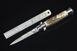 Wholesale Damascus Knife Antler - Tactical Knife Italy AKC Knife Dasmacus Blade Double Steel Head Antlers Handle Side Open 59HRC Xmas Gift F333E