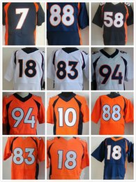 Wholesale Denver Football Jerseys - discount elite sport 18 Manning 58 Miller jerseys 88 Thomas 83 Wes Welker 7 John Elway 94 Ware Denver 10 Sander Football Men's Rugby shirt