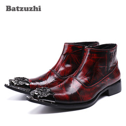 Wholesale Western Dress Shoes - Batzuzhi 2017 New Rock Japanese tyle Fashion Men Boots Pointed Toe Wine Red Luxury Men Dress Boots Shoes Leather, Big Size 38-46