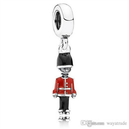 Wholesale Fit Movies - Hot6 925 Sterling Silver Black Red Enamel Soldier Pendant Charm European Charms Beads Fit Pandora Snake Chain Bracelet DIY Jewelry Wholesale
