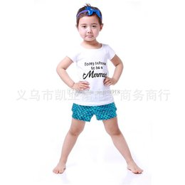 Wholesale Wholesale Cotton Fishing Shirts - New Fashion Mermaid Children outfits short T-shirt&pants 2pcs set cartoon Mermaid Fish scales baby sets DHL shipping C999