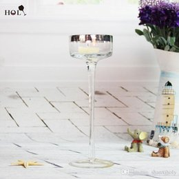 Wholesale Transparent Candle Holders - Long stem gold rim glass candle holder