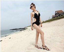 Wholesale Deep V Fringe - Newest Sexy Women's Fringe Monokini Swimwear Fringe Deep V neck Chest Opening Halter Top One-piece Swimsuit Bathing Suit Beachwear 70se