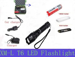 Wholesale Cree High Power Torches - 2016 new XM-L T6 3000 Lumens flashlight High Power E17 CREE LED Zoomable Torch light with 18650 Battery + Car Charger + charger + box