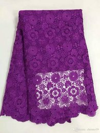 Wholesale Embroidered Lace Material - Embroidered mesh lace fabric purple for wedding dress high end jacquard lace material African lace fabric for sewing