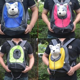 Wholesale Double Dog - Pet Carrier Dog Carrier Pet Backpack Bag Portable Travel Bag Pet Dog Front Bag Mesh Backpack Head Out Double Shoulder 4 colors