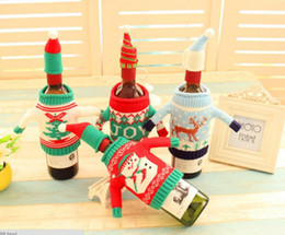 Wholesale Family Christmas Sweaters - High qulity Christmas decorate red wine beer knitting sweater bottle sets cover family hotel Restaurant used