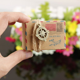 Wholesale Wedding Mail Box - 100pcs Wholesale Vintage Favors Kraft Paper Candy Box Travel Theme Airplane Air Mail Gift Packaging Box Wedding Souvenirs scatole regalo