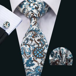 Wholesale Mens Neckwear - Classic Ties Sets Mens Neck Ties Floral Cotton Neckwear Tie Hanky Cufflinks Sets Formal Business Wedding Party N-1374