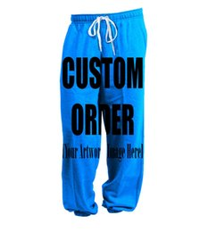 Wholesale Usa Length - REAL American USA SIZE Custom - Create your own - 3D Sublimation Print String Jogger   Harem Pants -plus size
