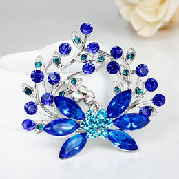 Wholesale Cheap Brooch Wedding Bouquets - Fashion Sapphire Blue Brooches Flower Crystal Wedding Bouquet Brooch Pins Women Cheap Rhinestone Brooch Statement Jewelry