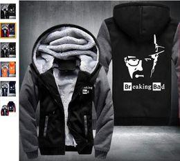 Wholesale Breaking Bad Hoodies - 2018 Autumn and winter hooded zipper cardigan hoodies coat clothes US drama Breaking Bad Old White Heisenberg Hot