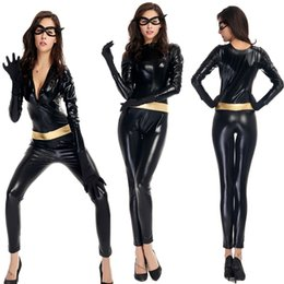 Wholesale Black Catsuit Mask - Good Quality Women Sexy Halloween Catwoman Cosplay Costume Faux Leather Bodysuit One Outfit Exotic Cat Mask Clubwear Jazz Dance Clothing
