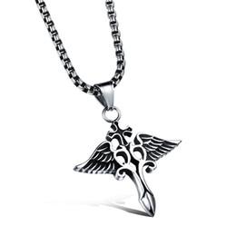 Wholesale Titanium Cross Wings Necklace - The new cast titanium Pendant Necklace Jewelry Wholesale domineering men Cross Pendant N1044 wings