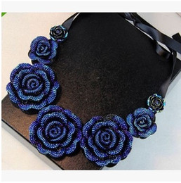 Wholesale Silk China Rose - Elegant Silk Ribbon Three-dimensional Rose flower Collar Necklace Chocker Bib Statement Necklaces Jewelry for Women and Girls Christmas