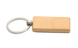 Wholesale Personalize Logo - Blank Wooden Key Chain Rectangle Key ring personalized keychain Can be engraved logo 2.25''*1.25'' 25Pcs  Lot KW01C Free Ship