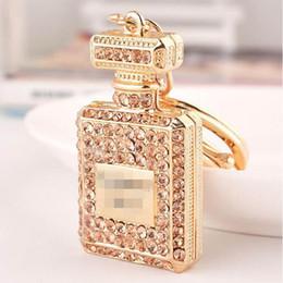Wholesale Perfume Holder Wholesale - Perfume Bottle Luxury Keychain Key Chain & Key Ring Holder Car Keyring Porte clef Gift Women Souvenirs Bag Pendant