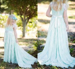 Wholesale Layers Little Girl - Light Sky Blue Little Girls Flower Girls Dresses For Wedding Party Princess Kids Gown with Rhinestones Sash Long Train Lace Layers Cheap