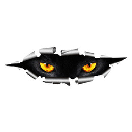 Wholesale Funny Head Covers - Cool 3D Car Styling Funny Cat Eyes Peeking Car Sticker Waterproof Peeking Monster Auto Accessories Whole Body Cover for All Cars