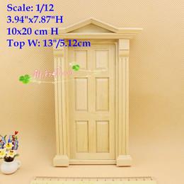 Wholesale Diy Wood Dollhouse Kits - 1:12 Scale Dollhouse Miniature DIY Greek Revival Wood Panel Door  Doll House Furniture Kit  10x20 cm; m a p s