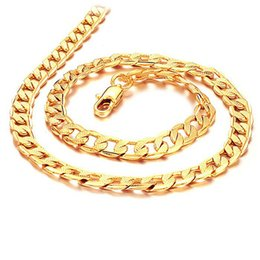 Wholesale Face Cut - 2017 New Gold Necklace 100% 24K SOLID GOLD DIAMOND CUT BAR CHAIN NECKLACE , Men's Necklace Figaro Chain