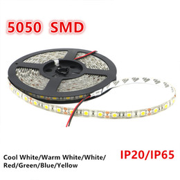 Wholesale Wire Wedding Decorations - SMD 5050 Led Strip Light 60led m Single color 5M 300 LEDs Waterproof   Non-waterproof Flexible LED Strip Light for Wedding Christmas Party