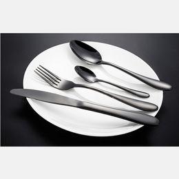 Wholesale Best Western Gift - Stainless Steel Black Gold Western Food Dinnerware Cutlery Fork Knife & Scoop Tableware Set Best Gift