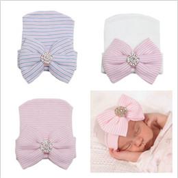 Wholesale Crochet Kids Beanie Hats - 2016 newborn baby beanie hats boy girls knit big bows caps toddler hat infant cotton crochet cap kids hair accessories bonnets wholesale