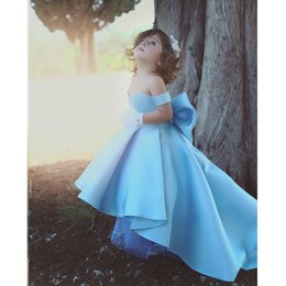 Wholesale Strapless Kids Wedding Dresses - Elegant Off Shoulder High Low Satin Flower Girls Dresses Strapless Kids Pageant Gowns With Bow First Communion Dress