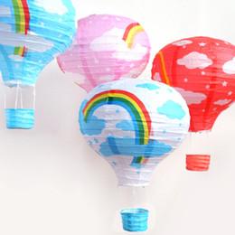 Wholesale Wedding Decorations Paper Lanterns - Hot Air Balloon Paper Lanterns Hanging Wedding Rainbow Lantern Hand Made Party Decoration Supplies Pendant New 3 9yy B R