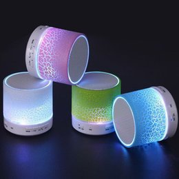 Wholesale Mini Speaker Metal - New Arrival LED Mini Wireless Bluetooth Speaker A9 TF USB FM Portable Musical Subwoofer Loudspeakers For phone PC with Mic