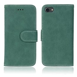 Wholesale Iphone 4s Retro - Retro Matte Wallet Leather Case For Iphone 7 I7 6S 6 Plus SE 5 5S 4 4S Huawei P8 P9 Lite Luxury Frosted Cards Slot Stand Phone Cover 120pcs